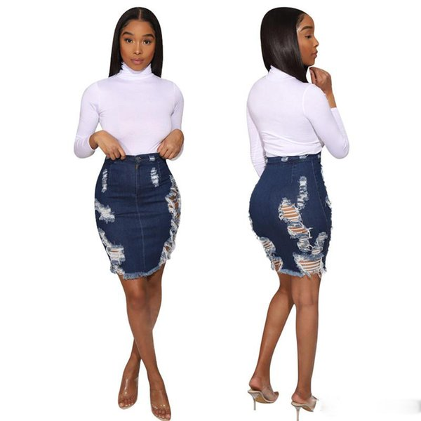 Woman Washed Jean denim Skirt button fly bodycon pencil short Skirt Ripped S-2XL