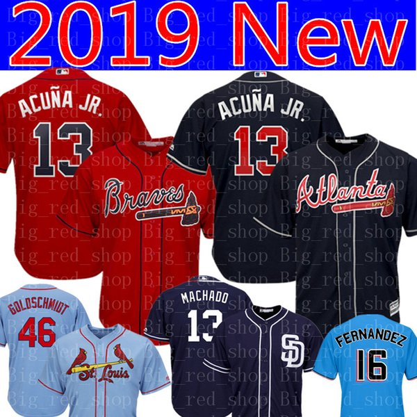 premium selection 2e08d 5e080 2019 Atlanta Braves Ronald Acuña Jr. 13 Jersey Majestic Scarlet 2019  Alternate Official Cool Base Player Baseball Jerseys Embroidery Logos From  ...