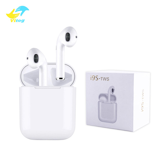 i9s tws wireless bluetooth headphones ture stereo 5.0 Earphones earbuds with magnetic charger case silicone protector case Anti Lost Rope