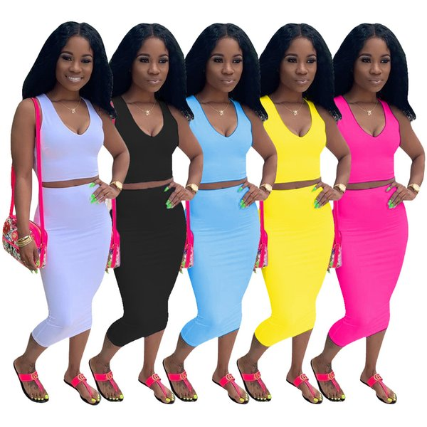 Summer Leisure Pure color Two Pieces Dresses Suits 2019 Hot Sale V Neck Sleeveless T Shirt and Mid Calf Sheath Skirt Sexy Night Out Dress