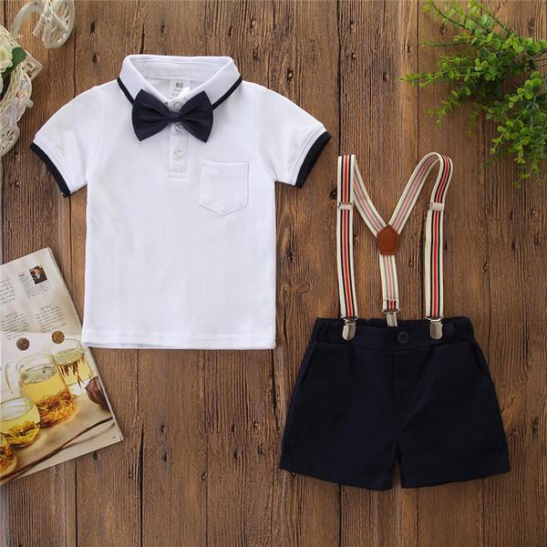 Junge Kleidung Sets 2 Stück Anzüge Jungen weißen Shorts T- Shirt Hülse + kondolieren setzt Gurtkurzschlüsse Junge Kleidung