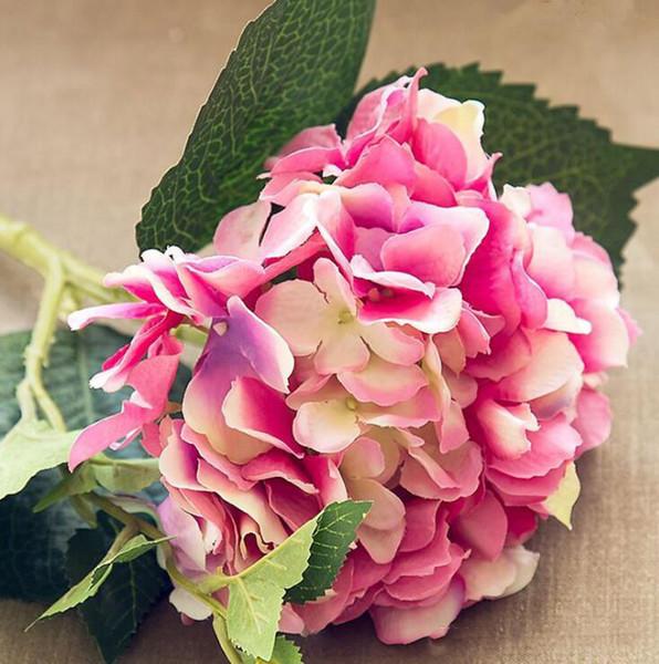 NewFashion Artificial Hydrangea Flor Tela de seda Plástico Suministros de boda Decoración del hogar DIY para fiesta de cumpleaños Festival