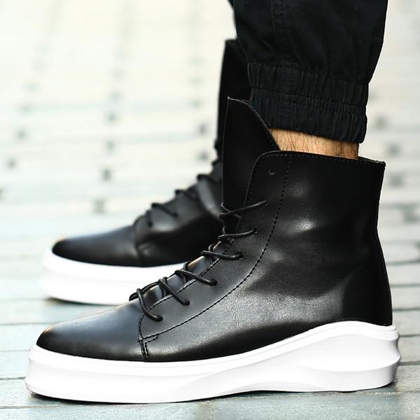 Hip Hop Moda Otoño Invierno Hombres Martin Botas Zapatos de vestir con cordones  Bailar Calzado Plataforma Zapatillas altas Botas dc3e6f2ae59