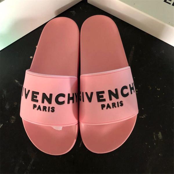 yoyoog / Diseñador de lujo de alta calidad de los hombres de verano de color rosa blanco zapatillas de goma de diapositivas de playa de moda desgastan las sa