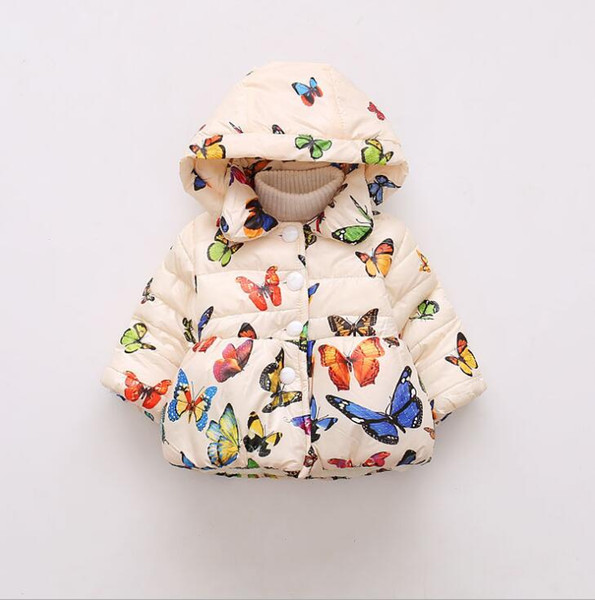 best selling Autumn and Winter Foreign Trade Children's Cotton Clothes Butterfly Printed Children's Cotton Clothes in Europe and America