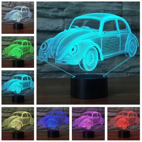 Sports Racing Car 3D USB LED Night Light 7 Colors Illusion Lamp Switch Touch or Remote Control Kids Bedroom Lamp Gifts Worldwide Drop Shipp