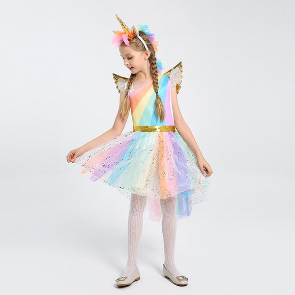Girls Cosplay Clothes Skirt+Headwear+Wing Suits Unicorn Rainbow Color Play Clothings Festival Children Clothes Suits 4 Styles
