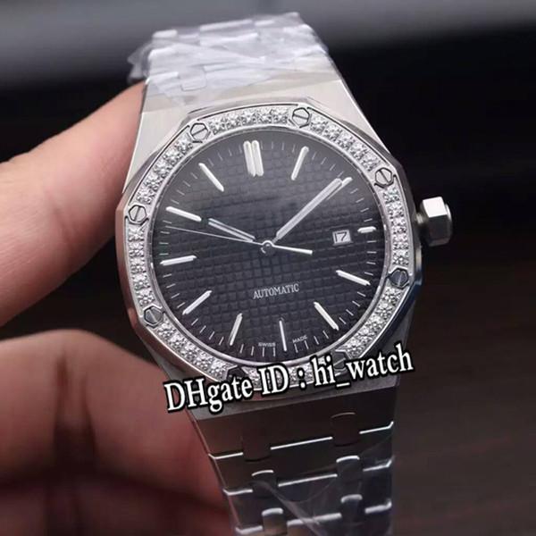Новый королевский 15400st бриллиантовый безель стальной корпус черный циферблат A2813 автоматические мужские часы спортивные часы высокое качество для Hi_watch A21g7