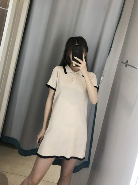 Designer 2019 New Women's Dresses Casual Fashion Brand Women Cloth Luxury Pure Color Ruffled Dress 3 Colors Linen Blend Size Free