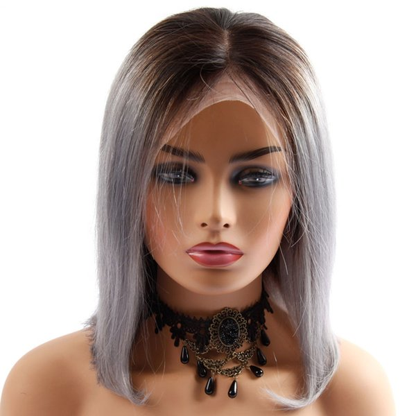 Lace Front Wig Short Bob Lace Frontal Brazilian Straigth Human Hair Wigs for Women Ombre T1B/Gray