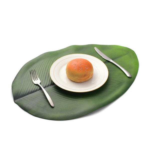 4pcs Banana Leaf Table Mat Placemat Simulation Plant PVC Cup Coffee Table Mats For Dining Coasters Desktop Decoration