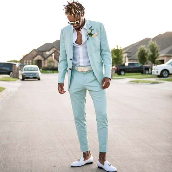Mint Green Mens Suits 2019 Slim Fit Two Pieces Beach Groomsmen Wedding Tuxedos For Men Notched Lapel Formal Prom Suit (Jacket+Pants)
