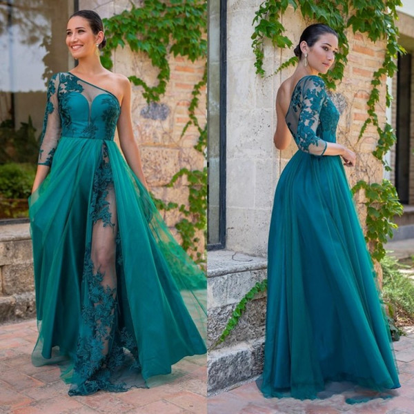 one shoulder bridesmaid dresses long sheer 3/4 long sleeve plus size country maid of honor gowns see through wedding party dress