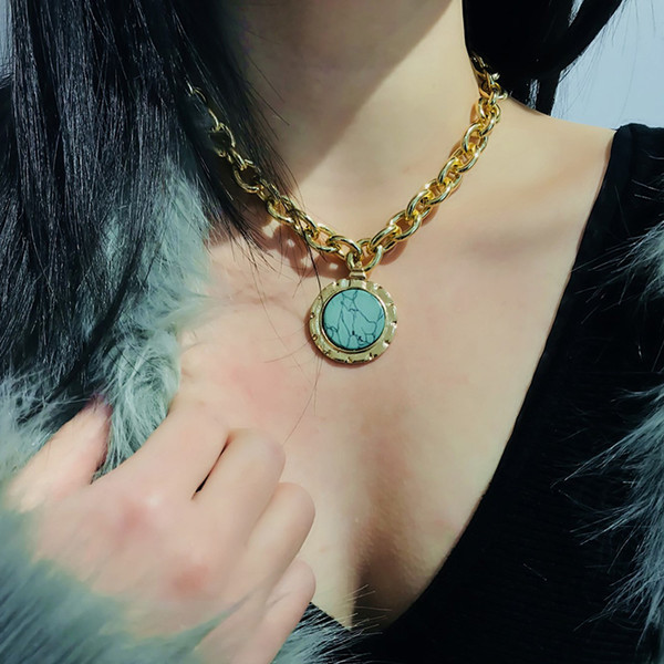 Vintage Gold Color Round Pendant Necklaces for Women Love Lock Charms Long Chains Necklace Female Party Collar Choker Jewelry