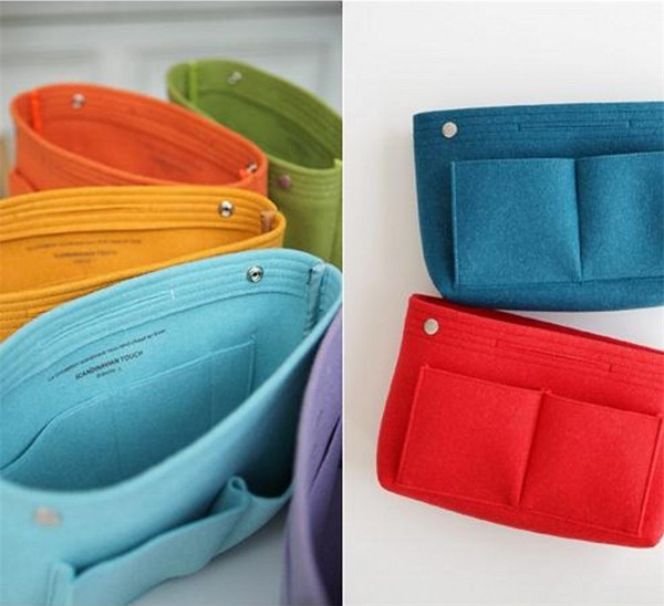 Multi Function Package Storage Felt Liner Pure Color Speedy Bag Cosmetic Buckle Wrap Single Handed Basket Eco Friendly 13mzB1