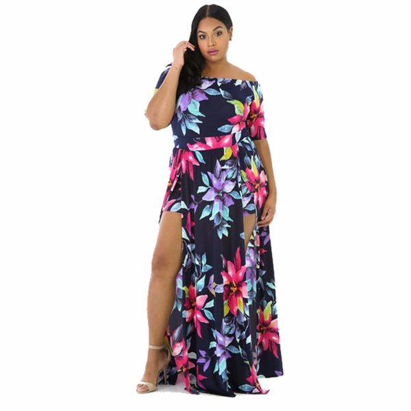 Mrs. Sexy Dress Way From Shoulder Floral Party Short Bodycon Bohemian Tuch High Split Party Club Dress Plus Size Dress Y19071101