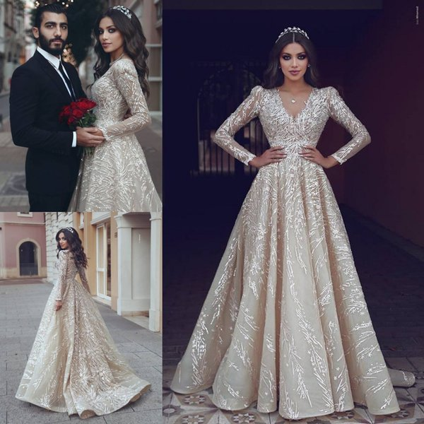 Sparkly 2019 Lace Wedding Dresses Long Sleeve V Neck Beaded Sequins Bridal Gowns Zuhair Murad A Line Beach Boho Wedding Gowns