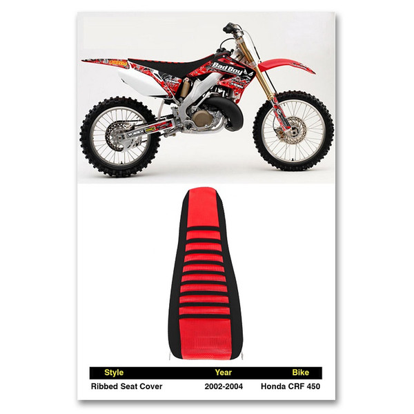 2002-2004 HONDA CRF 450 Ribbed pleated red black SEAT COVER Factory Outlet Red Black for BMW motocross OFFROAD racing parts