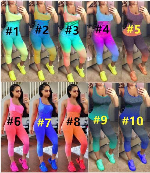 top popular P Brand Designer women tank top leggings tracksuit sleeveless t-shirt pants 2 piece set outfits pullover tights sportswear Spring Summer 222 2019