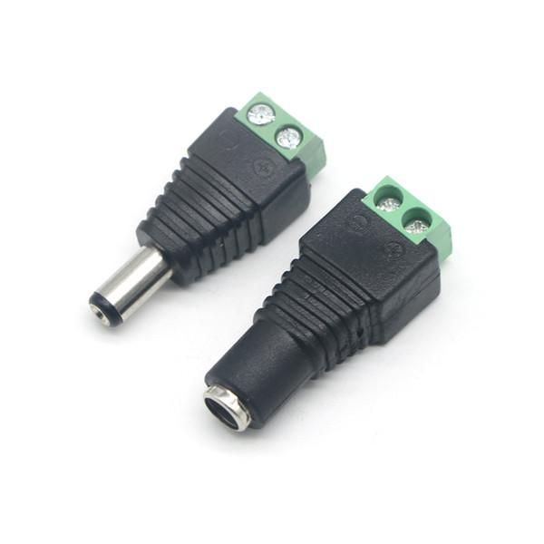 Hembra / hombre DC Power Jack Connector Adaptador de enchufe 5.5x2.1mm Para 5050 3528 Luz de tira de un solo color LED para cámara CCTV