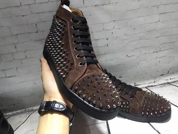 LLuxury Tasarımcı kırmızı alt ayakkabı erkekler kadınlar için Koyu kahverengi süet ayakkabı, Mutil sivri ...