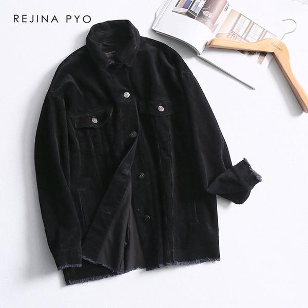 REJINAPYO Women Vintage Corduroy Solid Turn-down Collar Jacket Loose Coat Womens Fashion Single Breasted Clothing Plus Size