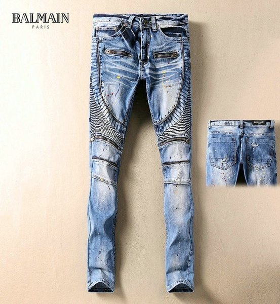 Jeans fashion men's foreign trade light pants waist embroidery design men's casual jeans