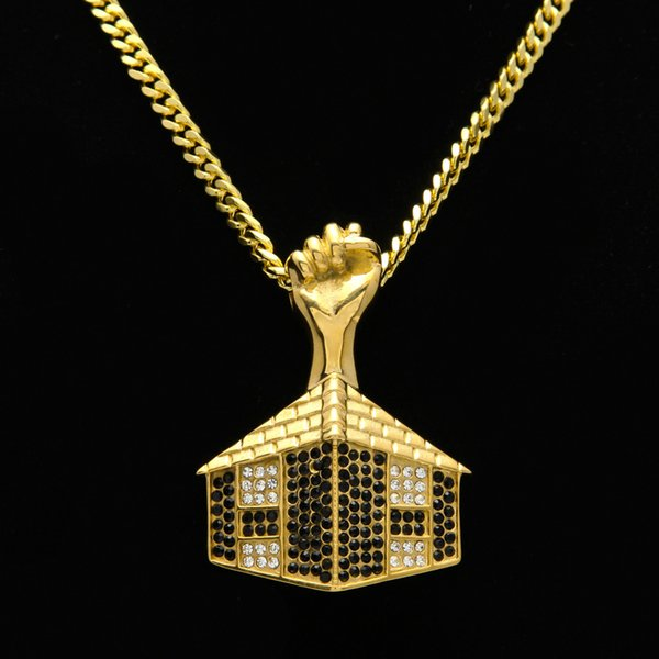Top Quality Hiphop Pendant Necklace For Mens New Hip Hop Fist Pedants Gold Plated Jewelry Hot Sale