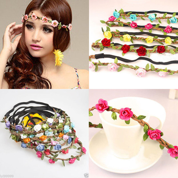Boho Fabric Festival Wedding Party Hairbands Garland Forehead Hair Women Flower Head Band Headwear