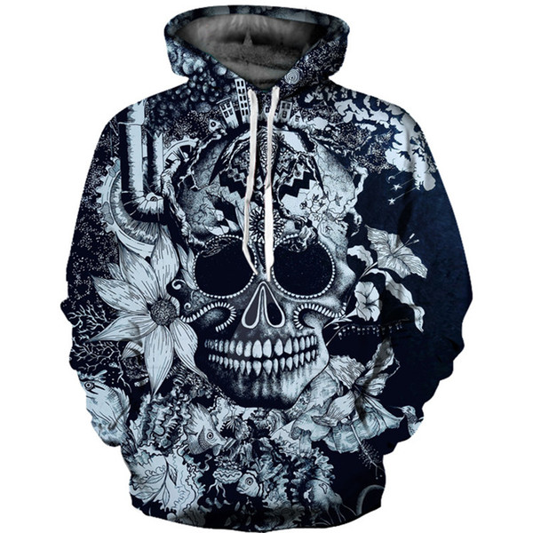 Newest skull 3d print unisex casual hoodie latest fashion hip hop street men sweatshirt clothing high quality pullover plus size