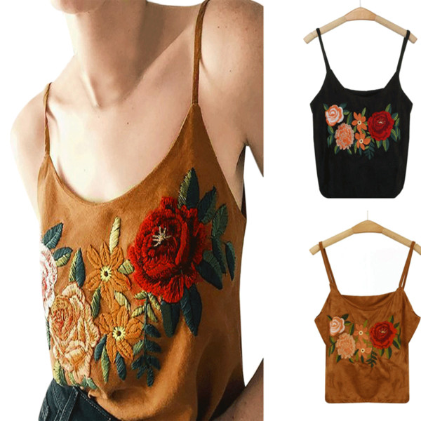 Mujeres Casual Rose bordado Tank Tops Lady Girl camiseta Tank Tops Summer Beach chaleco Midriff verano moda ropa
