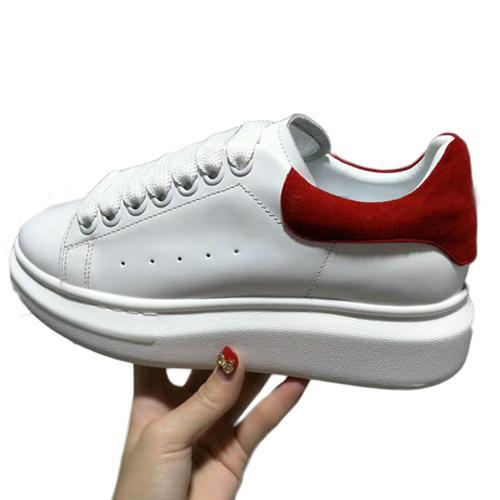 Diseñador de las mujeres coloridas de los hombres zapatillas de deporte zapatos de la comodidad de los zapatos ocasionales de la plataforma inferior mqueen del cuero de zapatos t04 Vestido de cuero atan para arriba Oxford Rojo