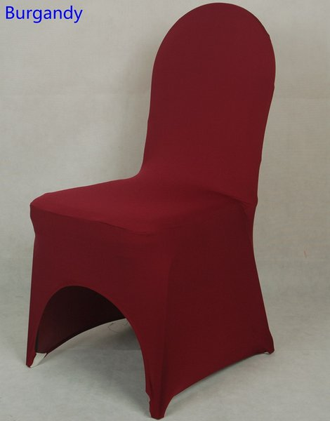 Burgandy colour lycra universal chair cover for wedding decoration spandex chair cover on sale banquet chair arch front open