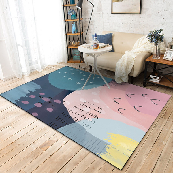 Nordic Minimalist Carpets For Living Room Home Bedroom Colorful Geometric  Watercolor Coffee Table Area Rugs Kids Play Floor Mats Shaw Rug Carpet ...