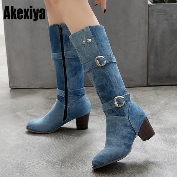 Botas de mujer Hebilla gruesa tacones altos botas de invierno con cremallera azul botines de mezclilla vaqueros vaqueros occidentales botas mujer k202