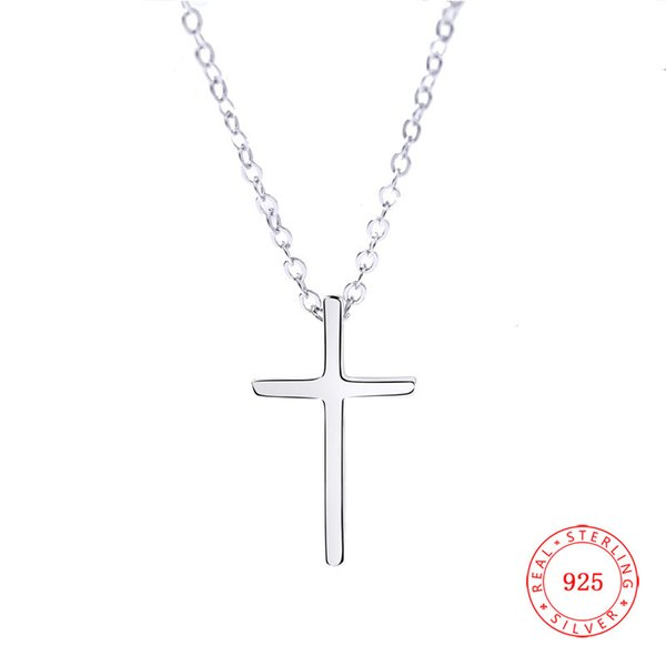 Simple Design Pure Hotsale 925 sterling silver stylish chain Choker Statement Charm Cross Pendant Necklace for women Lariat Necklace