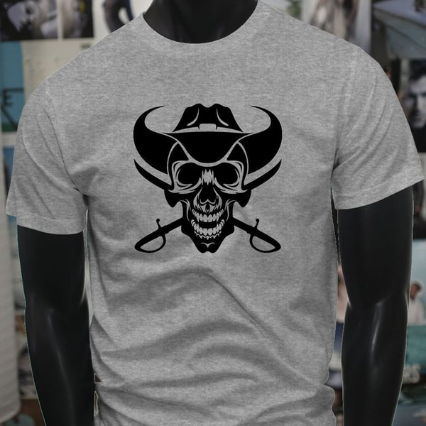 2019 New Fashion T-shirts Tops Livraison gratuite T-shirt chaud vente Cowboy Skull Western Country Swords Hommes Gris T-shirt d'impression