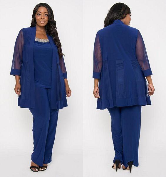 Traje de pantalón de madre azul real con gasa más gruesa 3/4 mangas Cuello redondo Vestidos largos de noche Más el tamaño de la madre de los vestidos de novia