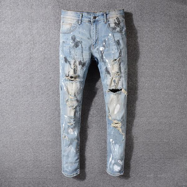 Мужская мода Новый стиль Straight Slim Fit Байкер Джинсы Брюки Проблемные Тощий рваные Разрушенный денима джинсы мытый Hiphop Брюки 9316