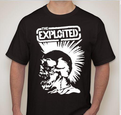 Sömürülen Mohawk Kafatası Punk Rock Hardcore T Shirt Tasarım T Gömlek Thrash Casual Serin Tişörtler Kısa Kollu