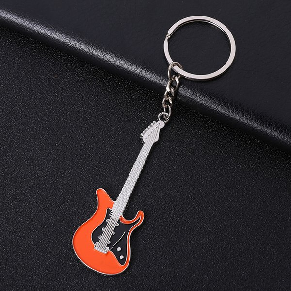Guitar Metal Keychain Keyring - 6 Colors Mini Classic Guitar Key Chains Ring Musical Instruments Womens Bag Charm Gift