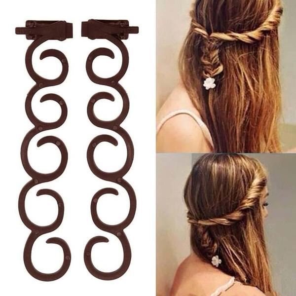 2020 2Pcs / Bag Lady Francês Ferramenta trança do cabelo Magia Torça Styling Clipe braider rolo Bun Criador DIY Faixa de Cabelo Acessórios