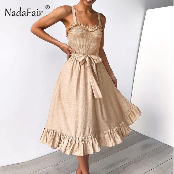 Nadafair оборками ремень летнее платье женщины с бантом зашнуровать белье плиссированные миди платье без рукавов спинки женщины сексуальная вечеринка