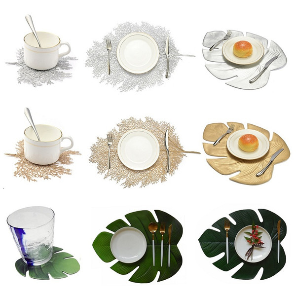 1pc Placemat For Dining Table Coasters Lotus Leaf Palm Leaf Simulation Plant Cup Coffee Table Mats Kitchen Christmas Home Decor