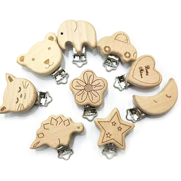 Baby Pacifier Clip Natural Wood Clips Nipple Saliva Towel Holder Soother Animal Cartoon Dummy DIY Bandana Clamp