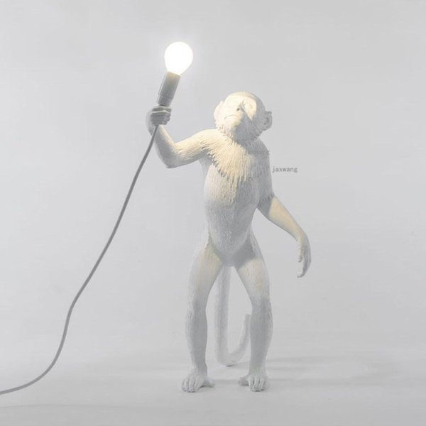 E27 Led Ampul ile Salon Lambaları Sanat salonu Çalışma Odası Led Işıklar parlaklık için Reçine Siyah Beyaz Altın Maymun Lambası Kolye Işık