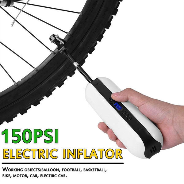 150PSI 12V Portable Air Compressor Bicycle Bike Pump Electric LED Tire Inflator Pump USB Charging Cycling Bicycle Accessory New #107177