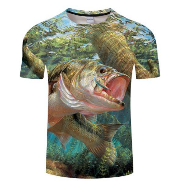 KYKU Balık Tshirt Erkekler Komik T-shirt Tropikal Okyanus 3d Baskı T Gömlek Hayvan Anime Giysi Fishinger Punk Rock Erkek Giyim Yaz