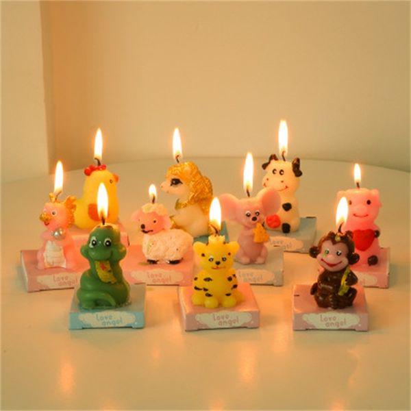 Animale zodiaco cinese Candela bello del fumetto del mouse Tiger Coniglio Cane festa di compleanno torta di nozze Candele Decorazione 2 8yy H1