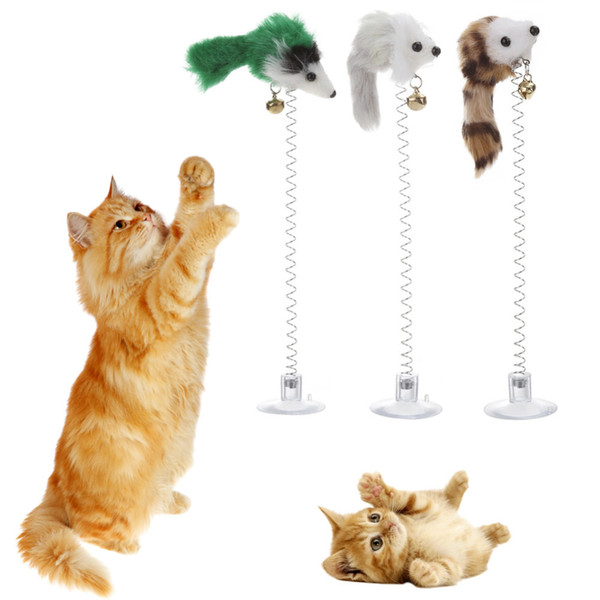 3pcs Funny Cat Toys Elastic Feather False Mouse Bottom Sucker Toys For Cat Kitten Playing Pet Seat Scratch Toy Pet Cat Product